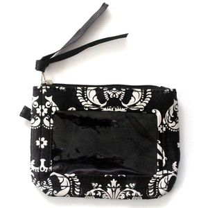 Handbags - Black & White Paisley ID Wallet with Zipper